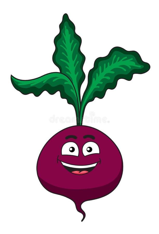 Verdura feliz alegre de las remolachas de la historieta stock de ilustración