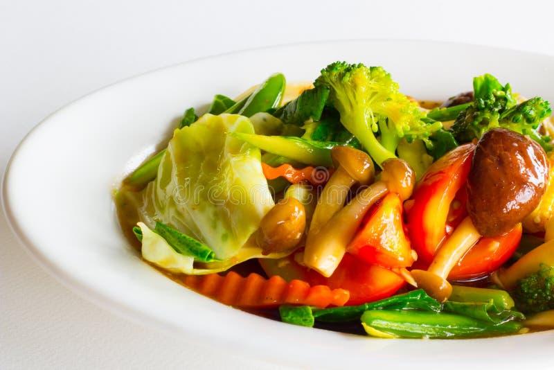 Verdura mista di scalpore in salsa dell'ostrica fotografia stock libera da diritti