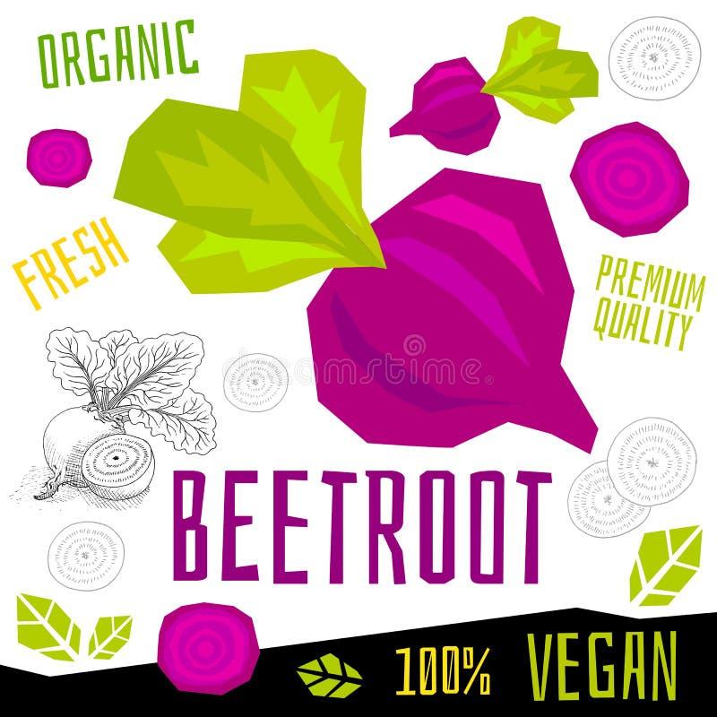 Verdura org?nica fresca de la etiqueta del icono de la remolacha de las remolachas, comida del vegano del dise?o gr?fico de color stock de ilustración