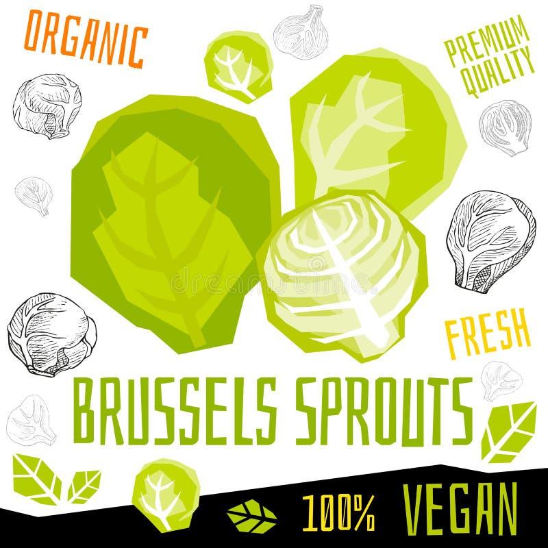Verdura organica fresca dell'etichetta dell'icona dei cavoletti di Bruxelles, alimento matto del vegano di progettazione di grafi royalty illustrazione gratis