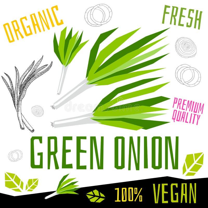 Verdura organica fresca dell'etichetta dell'icona della cipolla verde, alimento matto del vegano di progettazione di grafica a co royalty illustrazione gratis