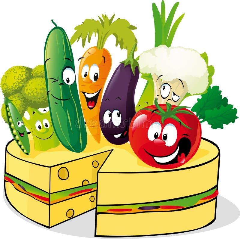Verdura y pastel de queso sanos - vector ilustración del vector