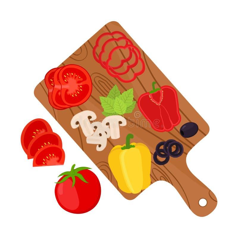 Verduras cortadas en tabla de cortar Ingredientes de la pizza Estilo plano de la historieta libre illustration