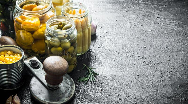 Verduras de cosecha propia preservadas imagenes de archivo