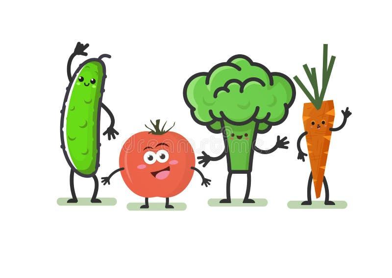 Verduras de la historieta Caracteres lindos sonrientes: pepino, tomate, bróculi y zanahorias aislados en el fondo blanco Comida d libre illustration