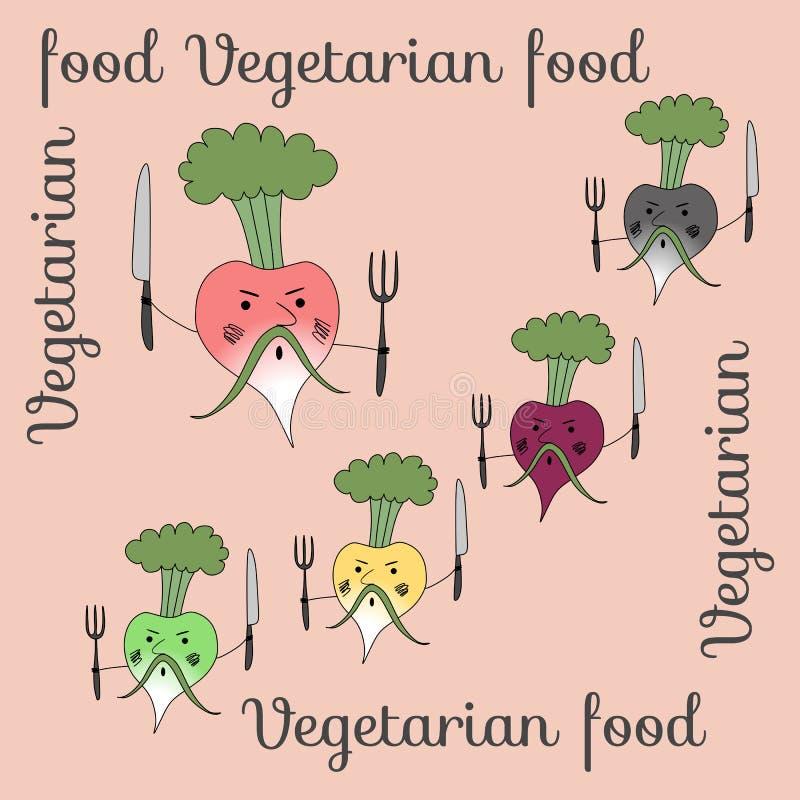 Verduras de raíz enojadas: nabos, rábanos, remolachas y rábanos Vector ilustración del vector