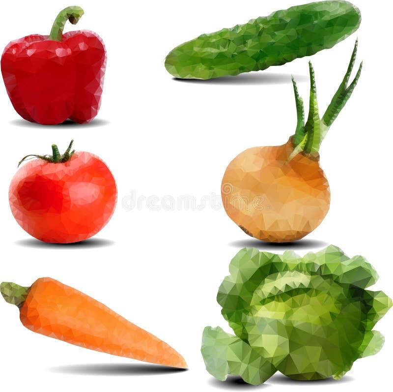 Verduras dibujadas en el estilo poligonal stock de ilustración