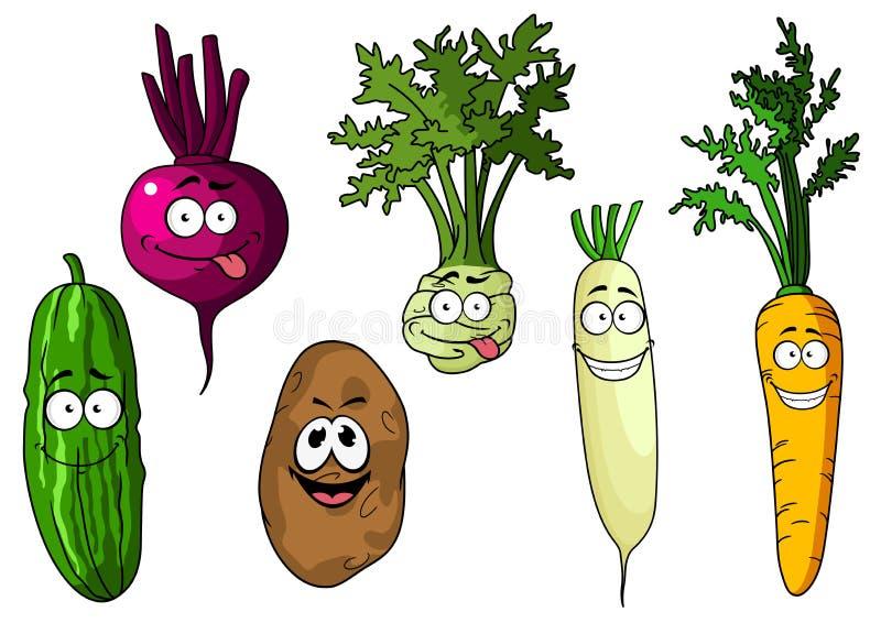 Verduras divertidas frescas de la historieta ilustración del vector