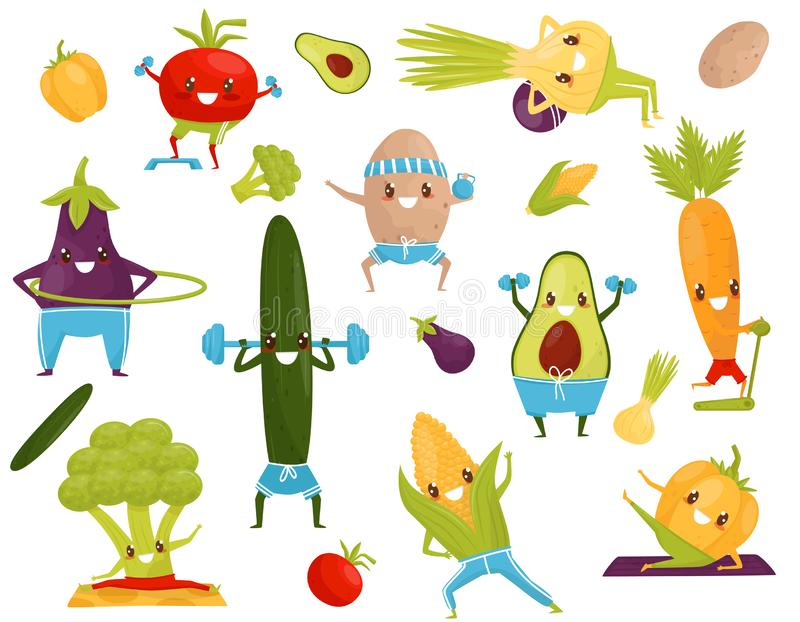 Verduras divertidas que hacen los deportes, aguacate juguetón, mazorca de maíz, berenjena, bróculi, pepino, zanahoria, tomate, pi stock de ilustración