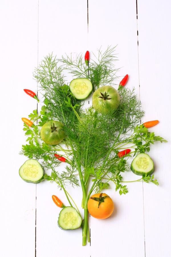 Verduras e hierbas orgánicas frescas imagen de archivo libre de regalías