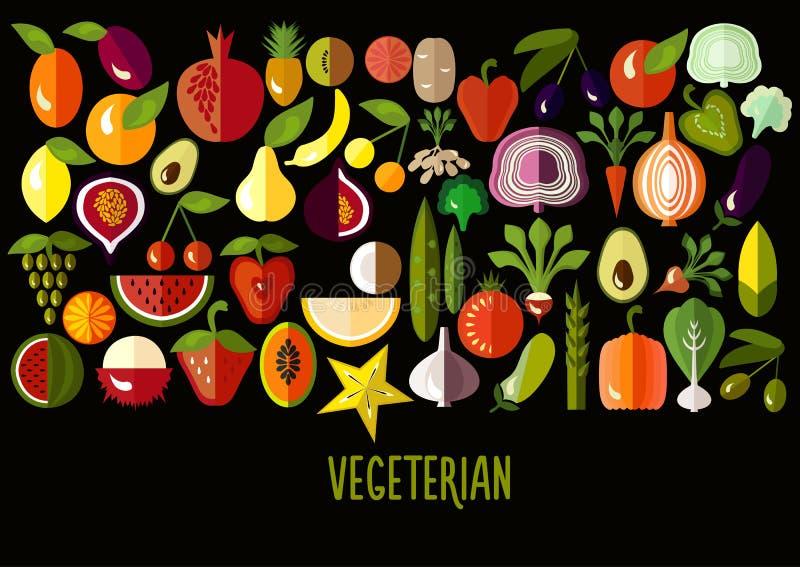 Verduras e iconos de la fruta: sistema del vector del plano libre illustration