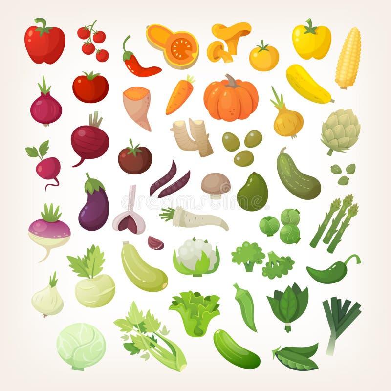 Verduras en la disposición del arco iris stock de ilustración