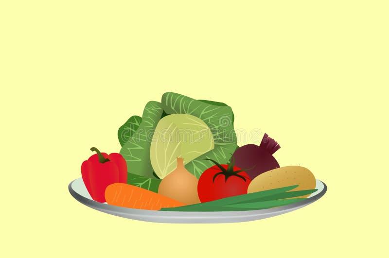 Verduras en una placa, ingredientes para hacer la sopa, ejemplo del vector ilustración del vector