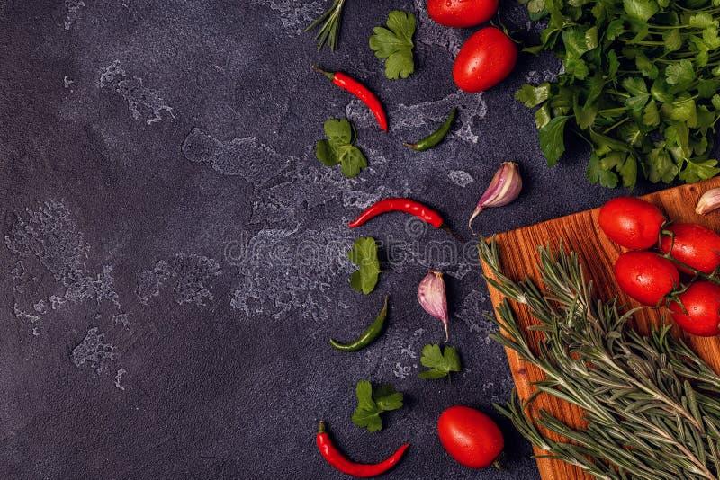 Verduras, especias, hierbas para cocinar - perejil, romero, toma imágenes de archivo libres de regalías