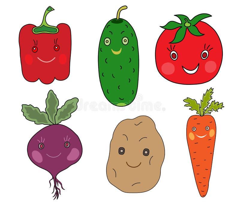 Verduras fijadas en estilo del kawaii stock de ilustración