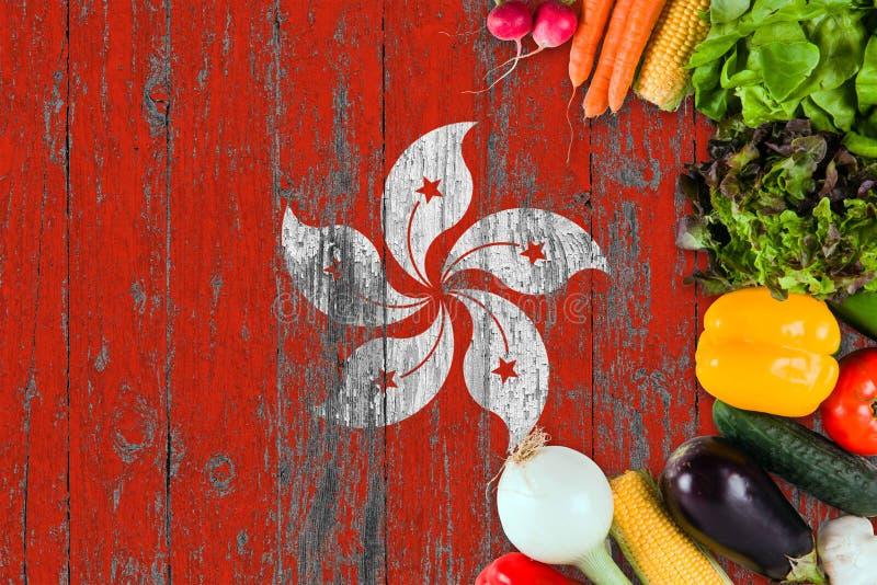 Verduras frescas de Hong Kong en la tabla Cocinar concepto en fondo de madera de la bandera imágenes de archivo libres de regalías