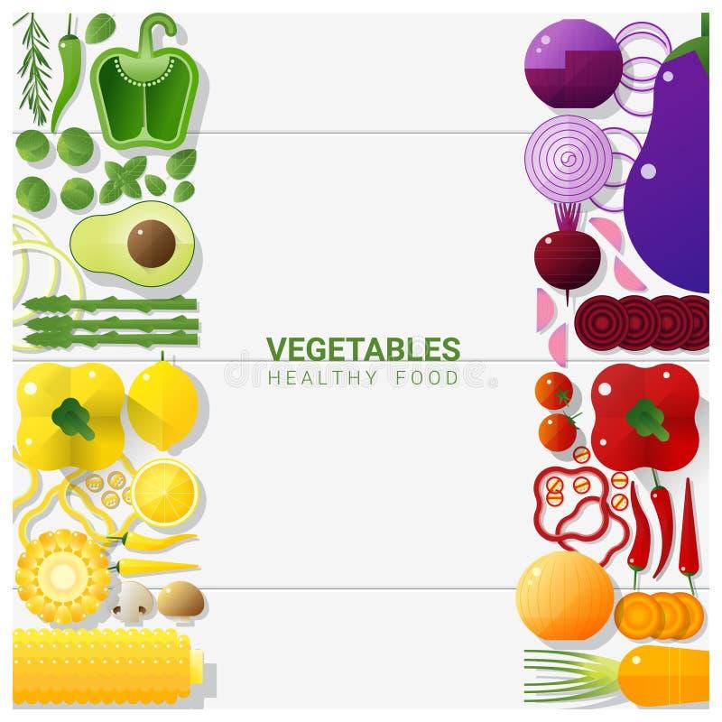 Verduras frescas de la endecha plana aisladas en el fondo blanco, concepto sano de la comida stock de ilustración