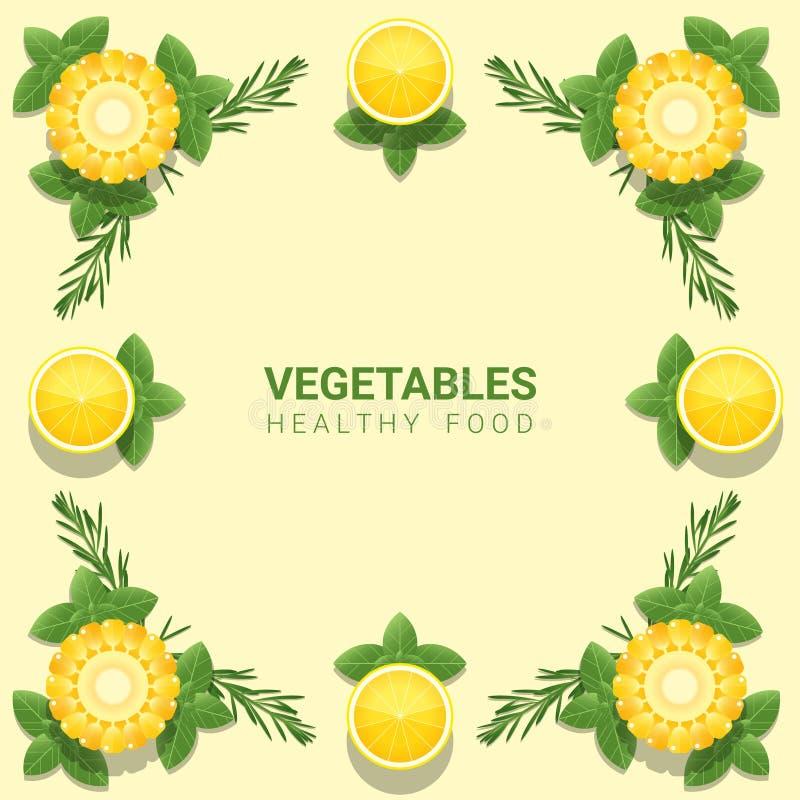 Verduras frescas de la endecha plana en el fondo amarillo, concepto sano de la comida ilustración del vector