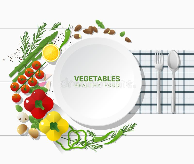 Verduras frescas de la endecha plana en el fondo blanco de la tabla, concepto sano de la comida ilustración del vector