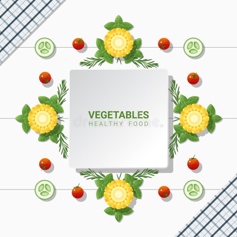 Verduras frescas de la endecha plana en el fondo blanco de la tabla, concepto sano de la comida stock de ilustración