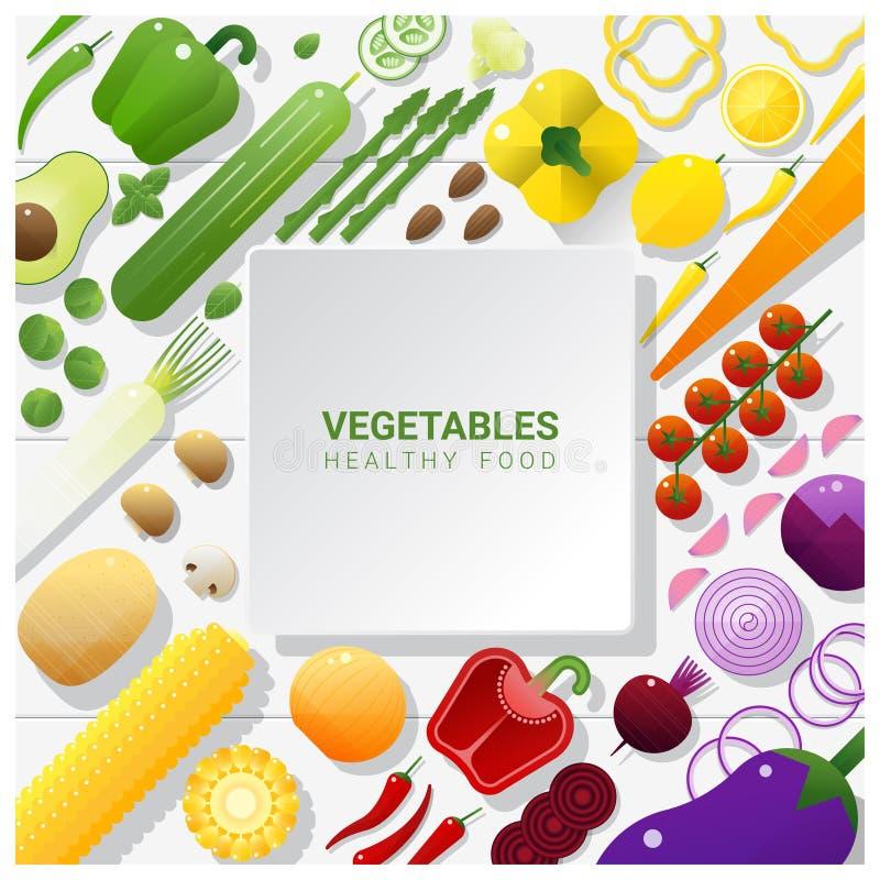 Verduras frescas de la endecha plana en el fondo blanco de la tabla, concepto sano de la comida libre illustration
