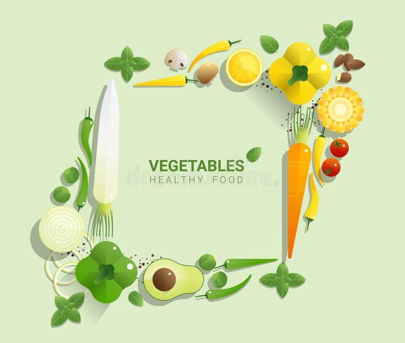 Verduras frescas de la endecha plana en el fondo verde, concepto sano de la comida libre illustration