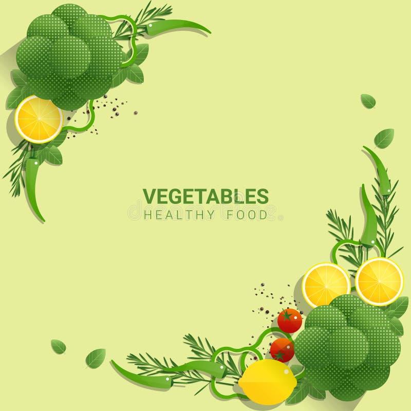Verduras frescas de la endecha plana en el fondo verde, concepto sano de la comida ilustración del vector