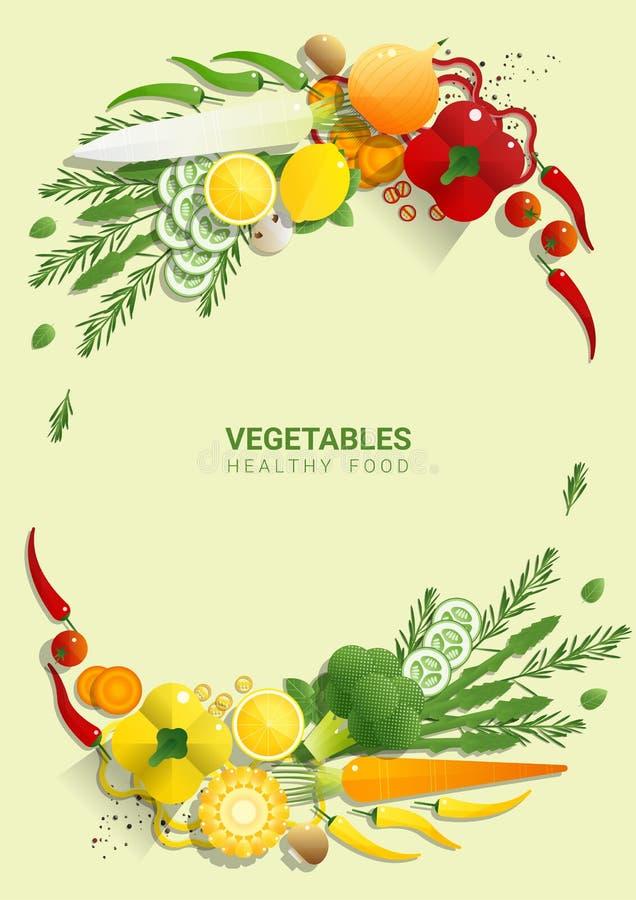 Verduras frescas de la endecha plana en el fondo verde, concepto sano de la comida stock de ilustración