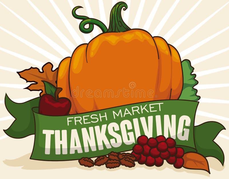 Verduras frescas deliciosas para la cena tradicional de la acción de gracias, ejemplo del vector libre illustration