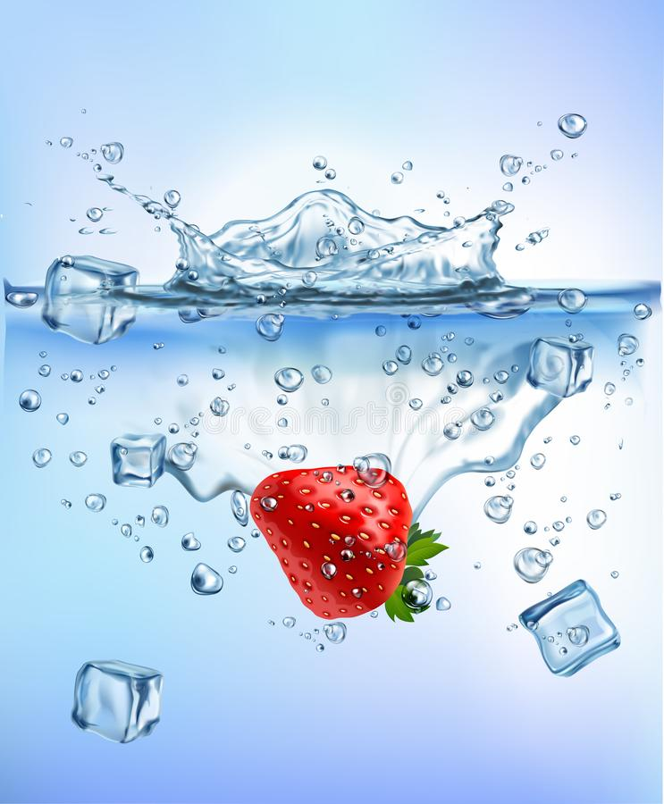 Verduras frescas que salpican el hielo en fondo blanco aislado concepto sano claro azul de la frescura de la dieta del chapoteo d ilustración del vector