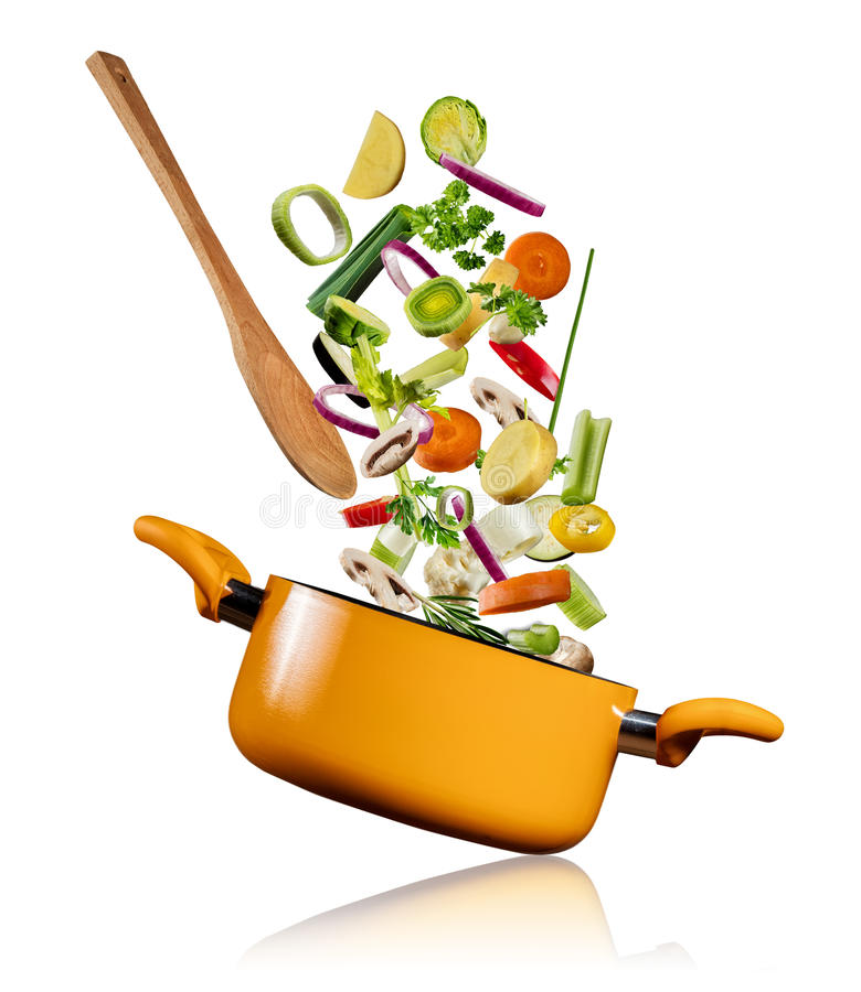 Verduras frescas que vuelan en un pote en el fondo blanco imagen de archivo libre de regalías