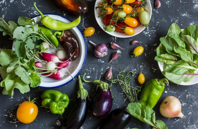Verduras frescas - rábanos, berenjena, pimienta, tomates, cebolla, ajo en un fondo de madera oscuro imagenes de archivo