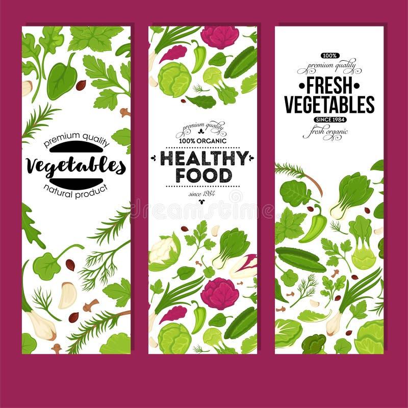 Verduras frescas y nutrición vegetariana orgánica de las banderas sanas de la comida ilustración del vector