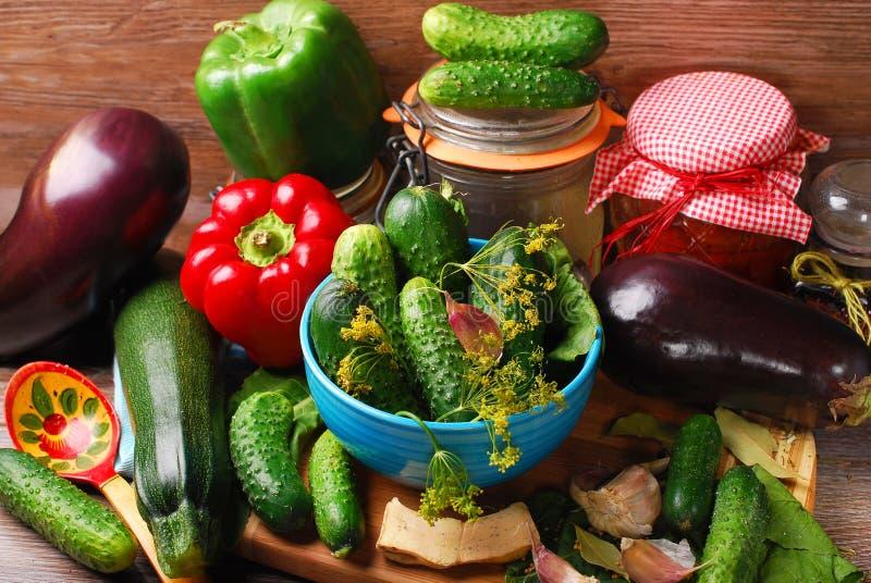 Verduras listas para las salmueras fotografía de archivo