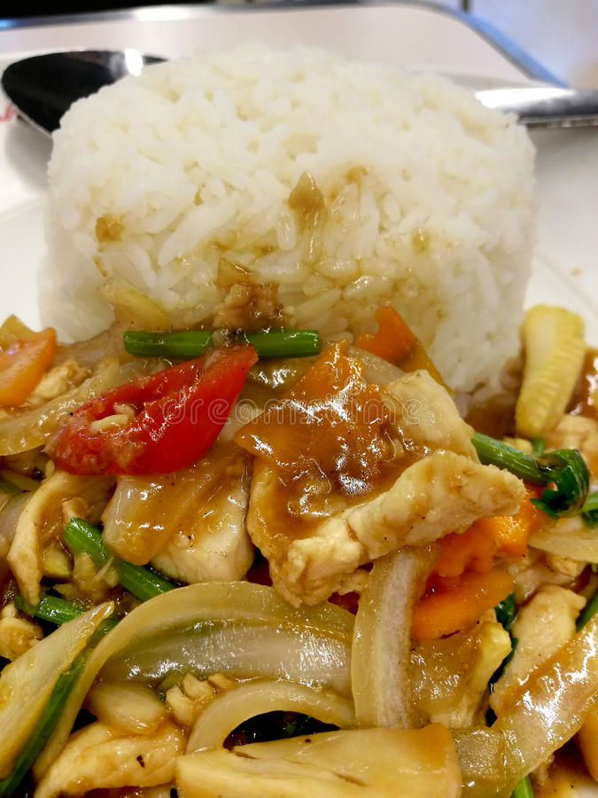 Verduras mezcladas de la agitación en salsa de la ostra con el pollo en el arroz cocido al vapor foto de archivo
