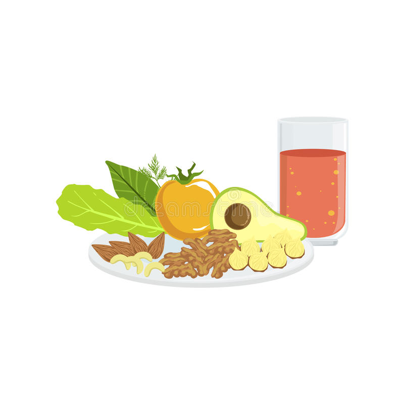 Verduras, nueces y tomate Juice Breakfast Food Drink Set stock de ilustración