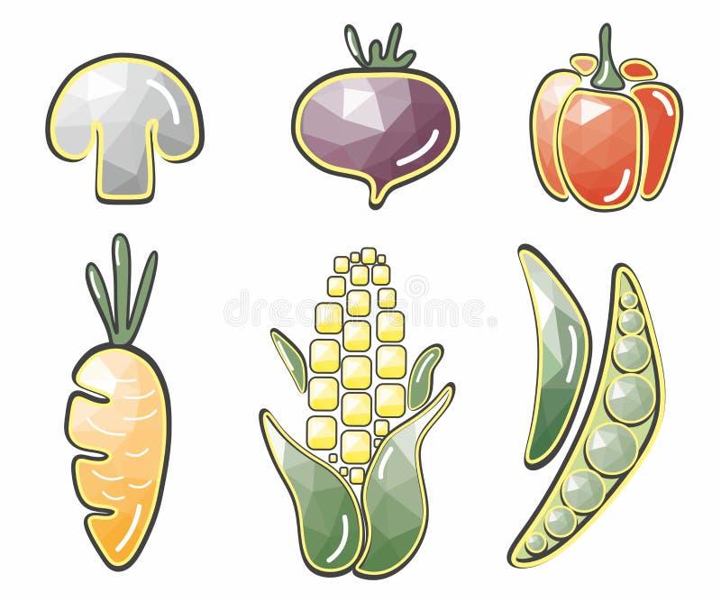 Verduras originales: maíz, seta, remolachas, pimientas, zanahorias, guisantes libre illustration