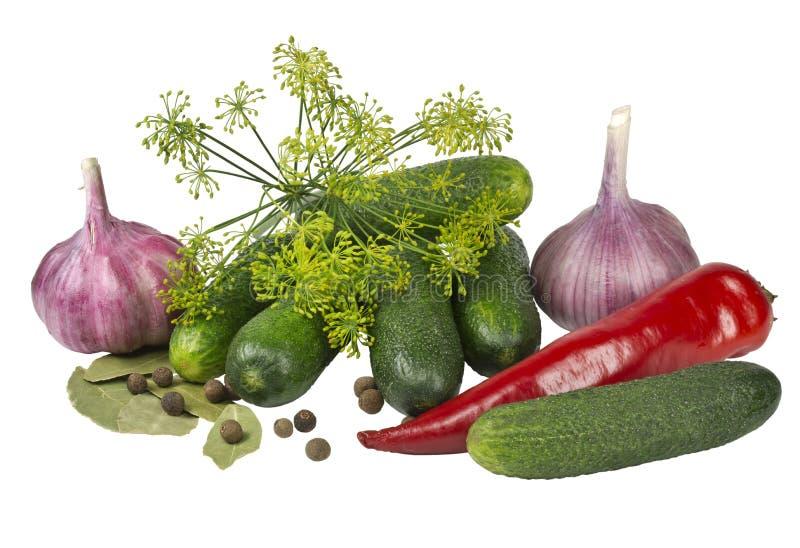 Verduras para el hogar que conservan en un fondo blanco imagenes de archivo