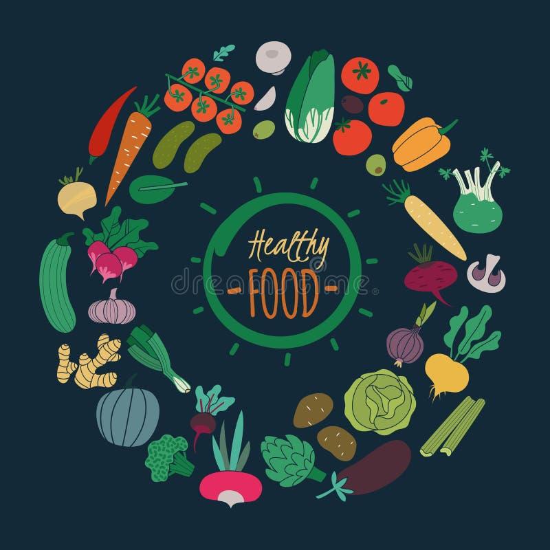 Verduras planas Berenjena de la patata del tomate del pepino de la cebolla de la zanahoria del color para la ensalada Alimento bi ilustración del vector