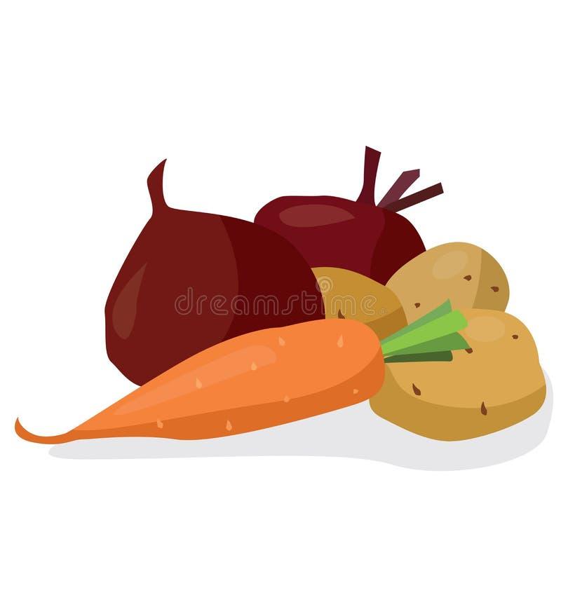 Verduras: remolachas, patatas, zanahorias ilustración del vector