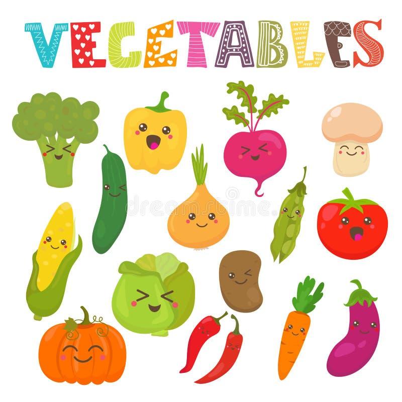 Verduras sonrientes del kawaii lindo Colección sana del estilo ilustración del vector