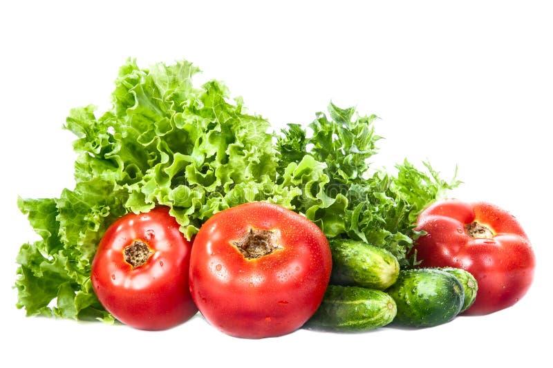 Verduras verdes, tomates, pepinos aislados fotos de archivo libres de regalías