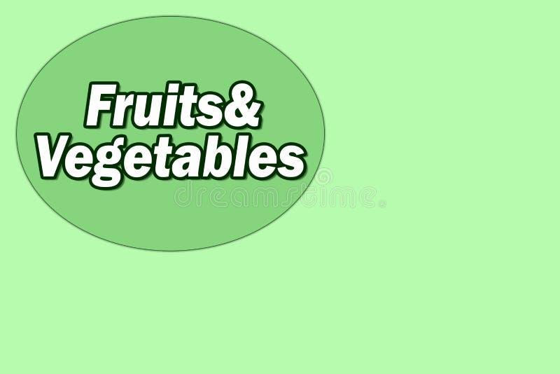 Verduras y frutas del texto Tienda vegetal Tienda de la fruta Letrero para la tienda Fondo verde para la tienda ilustración del vector