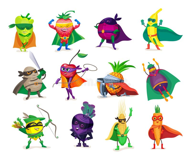 Verduras y frutas divertidas de los personajes de dibujos animados en trajes del super héroe stock de ilustración