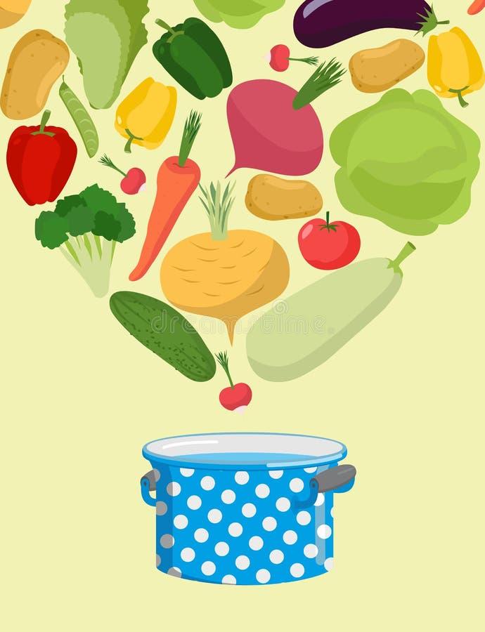 Verdure in casseruola Minestra di verdura del punto di ebollizione Alimento vegetariano Co illustrazione di stock