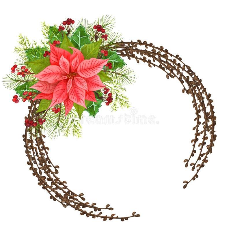 Verdure de Noël Poignées peintes à la main, baies rouges à feuilles persistantes, saintes isolées sur blanc Des illustration libre de droits
