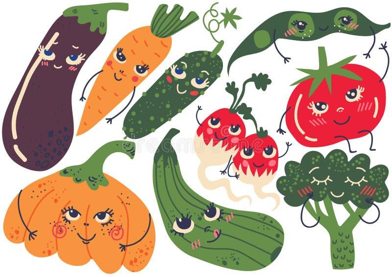 Verdure divertenti sveglie con i fronti sorridenti messi, melanzana, carota, zucca, ravanello, Bean Pod, cetriolo, pomodoro, broc illustrazione vettoriale