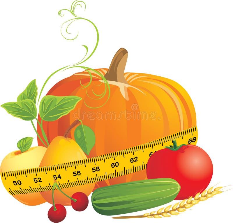 Verdure e frutta con nastro adesivo di misurazione illustrazione vettoriale