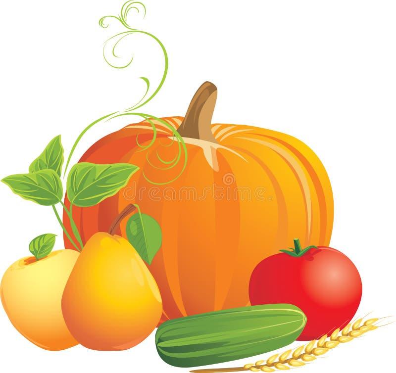 Verdure e frutta isolate sul bianco illustrazione di stock