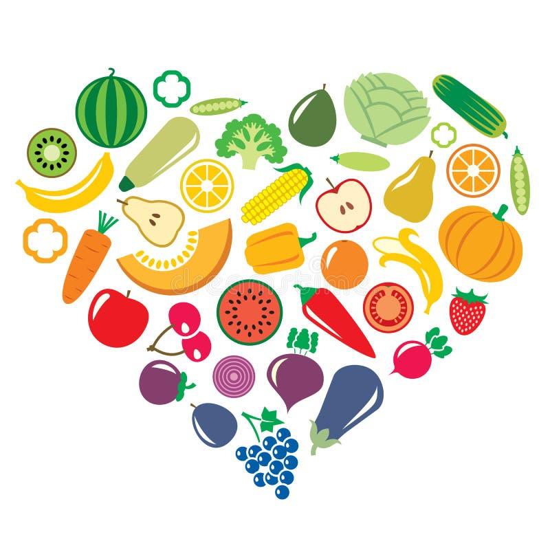 Verdure e frutta sotto forma del vettore del fondo del cuore royalty illustrazione gratis
